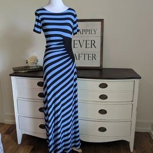 Anthropologie striped flattering maxi dress